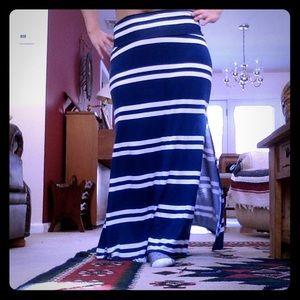striped blue and white slit maxi skirt